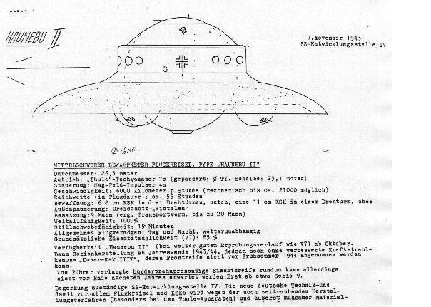 Zeichnung von Haunebu II aus US-Dokumenten